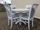 Krzesło prowansalskie tapicerowane białe do salonu jadalni - 1