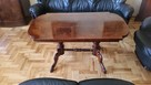 Drewniany elegancki stół, ława w wysokim połysku - 1