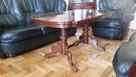 Drewniany elegancki stół, ława w wysokim połysku - 2