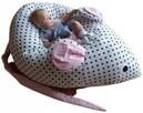 Pufa dla niemowlaka biała groszki