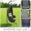 Home-Deluxe Fotel huśtawka ogrodowa polirattan rattan czarna Środa Wielkopolska