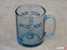 Kubek z niebieskiego szkła z napisem ACC 100