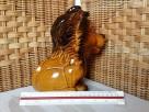 LEW - 22cm figurka ceramiczna szkliwiona/ kamionka SKARBONKA - 8