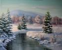 Pejzaż - Beskidy zimą, obraz olejny, L.Olbrycht