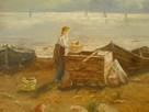 PO POŁOWIE - Obraz olejny na płótnie XIX wiek