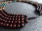 Duży naszyjnik boho etno z drewnianych koralików brąz turkus - 5
