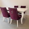 Krzesło glamour pikowane z  kołatką pinezkami z kryształkami - 5
