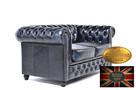 Chesterfielrd sofa 2 os antyczny niebieski - 3