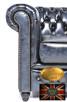 Chesterfielrd sofa 2 os antyczny niebieski - 5