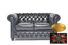 Chesterfielrd sofa 2 os antyczny niebieski - 1