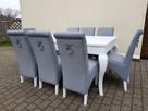Krzesło tapicerowane nowoczesne z kołatką z ćwiekami nowe - 4