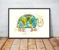 żółw plakat dla dziecka, żółw grafika do pokoju chlopca ilus