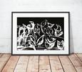 skandynawska grafika z ptakami, czarno biały plakat do sypia - 1