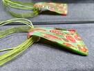 NOWY Naszyjnik Lamp Work zielono czerwony wisior maki róże - 3