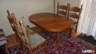Stół rozkładany 100x160x200 + 4 krzesła z litego dębu stan b - 7