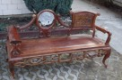 Drewniana unikatowa ławka z marmurową wstawką - 1