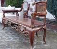 Drewniana unikatowa ławka z marmurową wstawką - 5