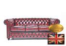 Chesterfield sofa skorzana 3 os