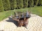 Stół drewniany z korzenia szklany blat