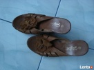 Sandały skórzane na koturnie Ostrołęka