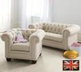 Chesterfield sofa 1 os z materialu Pitch bezowa