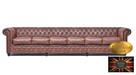 Chesterfield skorzana sofa 6 os vintage braz