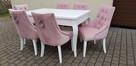 Krzesło pikowane tapicerowane chesterfield kołatka pinezki - 7