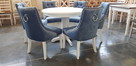 Krzesło pikowane tapicerowane chesterfield kołatka pinezki - 4