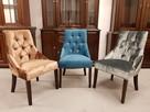 Krzesło pikowane tapicerowane chesterfield kołatka pinezki - 3