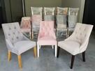Krzesło pikowane tapicerowane chesterfield kołatka pinezki - 1