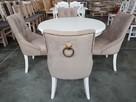 Krzesło pikowane tapicerowane chesterfield kołatka pinezki - 2