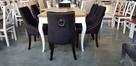 Krzesło pikowane tapicerowane chesterfield kołatka pinezki - 6