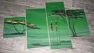 Tryptyk ręcznie malowany na desce AFRYKA zieleń