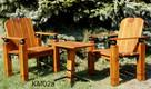 drewniane meble ogrodowe, metaloplastyka, krzesła