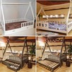 Łóżko domek z barierkami dla dzieci TIPI Oliveo 140 x 70 cm - 5
