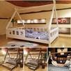 Łóżko domek z barierkami dla dzieci TIPI Oliveo 140 x 70 cm - 4
