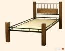 Łóżko metalowo dębowe