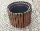 Donica drewniana okrągła doniczka doniczki na iglak XL Mieszkowice