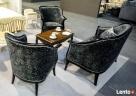 Stylowy włoski salonik Sofa Fotel Stolik kawowy Meble czarne - 4