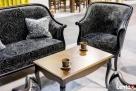 Stylowy włoski salonik Sofa Fotel Stolik kawowy Meble czarne - 2