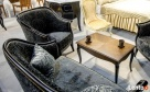 Stylowy włoski salonik Sofa Fotel Stolik kawowy Meble czarne - 5