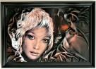 Obraz ze skóry, malowany ręcznie, nowoczesny, na prezent - 6