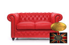 Chesterfield sofa 2 os czerwien skora - 1