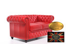 Chesterfield sofa 2 os czerwien skora - 5