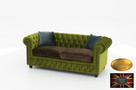 Chesterfield sofa 3 os z zamszu mix rozne kolory - 6
