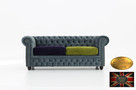 Chesterfield sofa 3 os z zamszu mix-max