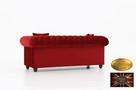Chesterfield sofa 3 os z zamszu mix - 2