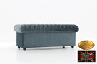 Chesterfield sofa 3 os z zamszu mix - 3