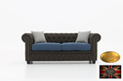 Chesterfield sofa 3 os z materialu mix