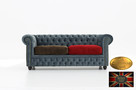 Chesterfield sofa 3 os z zamszu mix - 1